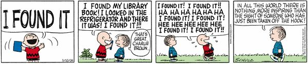 Charlie Brown finds his lost library book. Peanuts Comic Strip, March 10, 2006 on GoComics.com