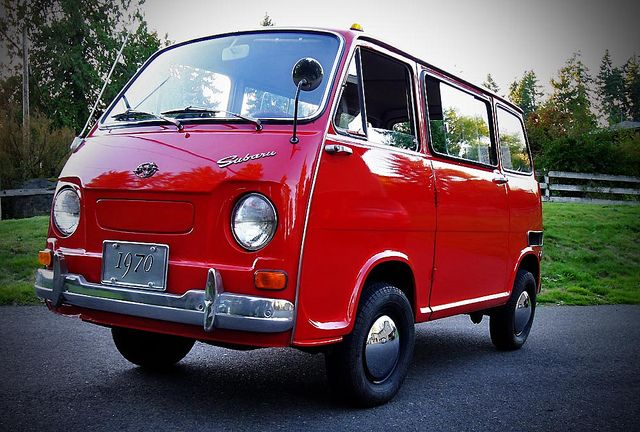 Red Subaru 360 Van