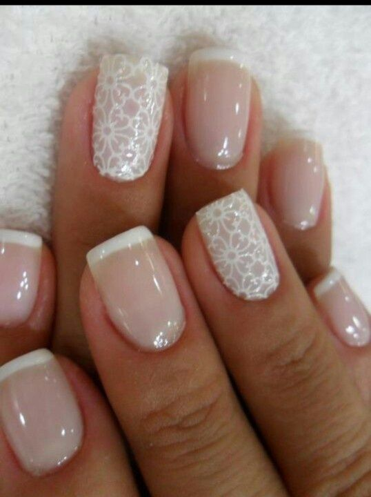 French Nails With Flower Prints