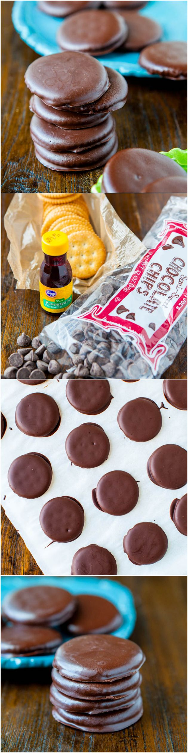 Homemade Thin Mints (no-bake, vegan) - Only 3 ingredients in this spot-on copycat version of real Thin Mints!  Ridiculously easy recipe at averiecooks.com