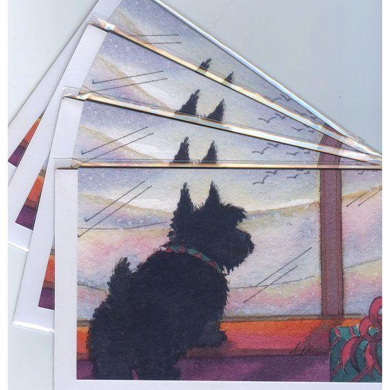 4 x Scottish Terrier dog greeting cards Aberdeen terrier