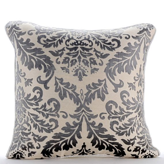 Paloma Gray Damask - 16 x 16 Burnout Velvet Throw Pillow.