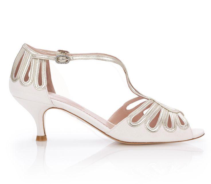 Leila Gold Kitten - Bridal Shoe - Ivory Kid Suede and Metallic Leather - Sandal -  Low Kitten Heel