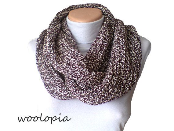 Hey, I found this really awesome Etsy listing at https://www.etsy.com/listing/179743840/maroon-white-hand-knitted-infinity-scarf