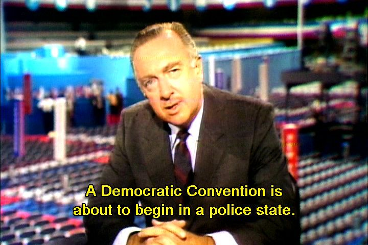 "Dnc Convention | Walter Cronkite at the 1968 Democratic convention in Chicago, reporting that Chicago had become a ""police state"" outside the building"