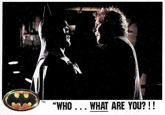 Batman Who What Are You Topps 18 Movie Trading Card 1989 Michael Keaton Christopher Fairbank Batman Pictures Michael Keaton Bubble Gum Cards