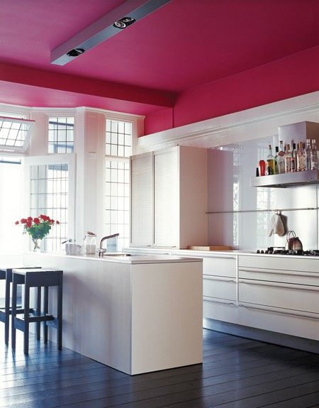 Cool design trick: Add your color (deep magenta) on the ceiling.