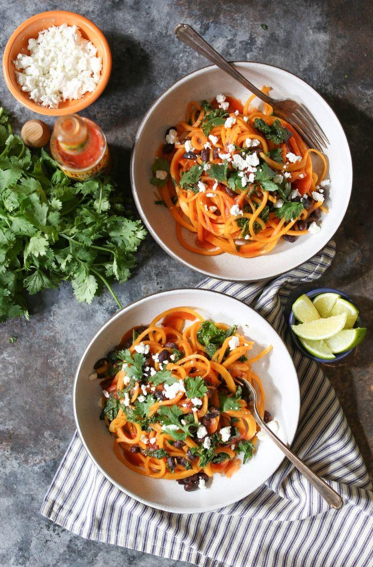 Butternut Squash Noodle, Black Bean, and Kale Enchilada Bowls - Domesticate ME Spiralized Butternut Squash, Butternut Squash Noodle, Squash Noodles, Veggie Heavy Recipes, Vegetarian Recipes, Healthy Recipes, Vegetarian Options, Healthy Eats, Delicious Recipes