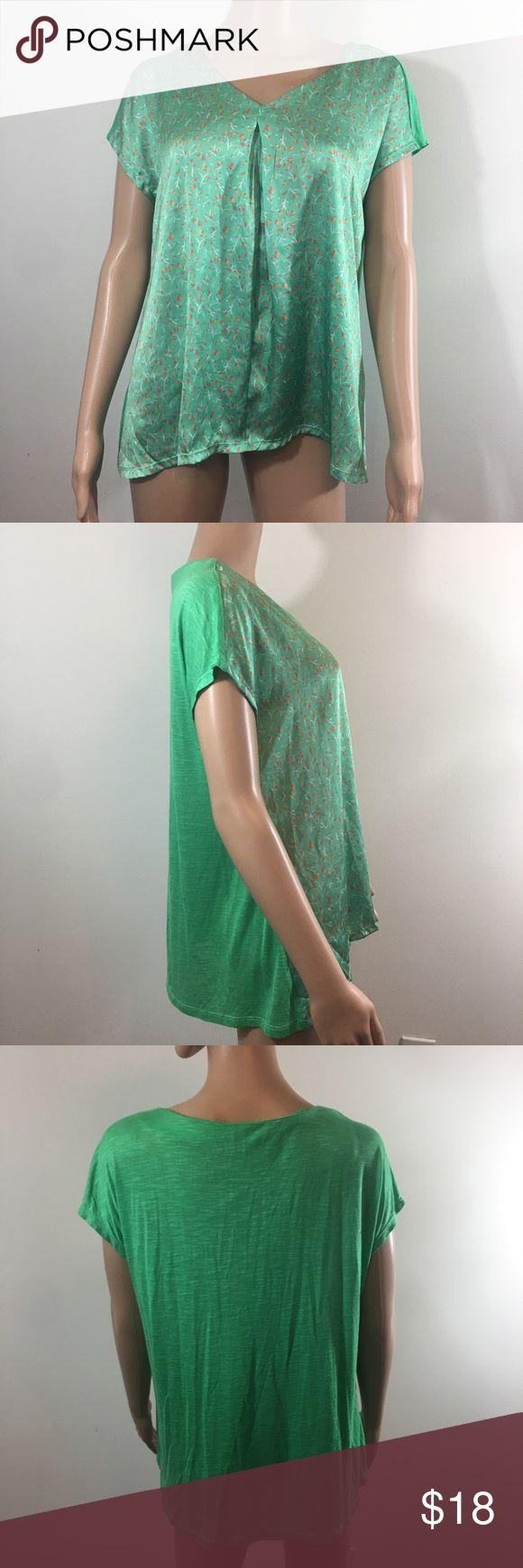 Cortefiel green floral chiffon short sleeve blouse excellent used condition, no stains tears or flaws! please see measurements below.  shoulder to hem-24in    chest(armpit to armpit)-22in   sleeve length- 8in cortefiel Tops Blouses