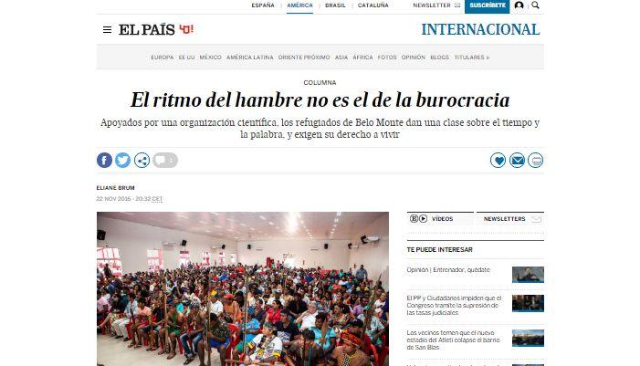 Los refugiados de Belo Monte, en Brasil, dan una clase sobre el ritmo del hambre, que no es el de la burocracia, en esta columna de Eliane Brum, con fotografías de Lilo Clareto y traducción de Óscar Curros. Sirve como retrospectiva del trabajo realizado por la autora a lo largo de 2016, pues ofrece una visión crítica del modelo de desarrollo brasileño, reflexiona sobre la política y la crisis y plantea numerosas preguntas sobre la sostenibilidad del país y del planeta.