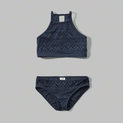 girls high neck two-piece swimsuit