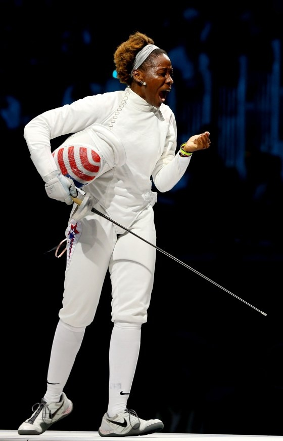 Maya Lawrence of the United States won a bronze medal for Women's Epee Team Fencing Finals on Day 8 of the London 2012 Olympic Games on August 4, 2012. (Photo by Hannah Johnston/Getty Images)