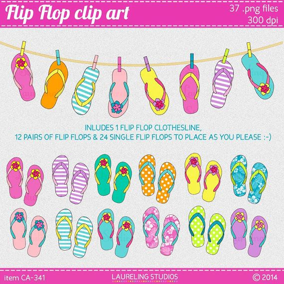 digital summer clipart flip flops, beach clip art, luau clip art, digital scrapbook supplies, vacation clipart DIGITAL DOWNLOAD CA-339