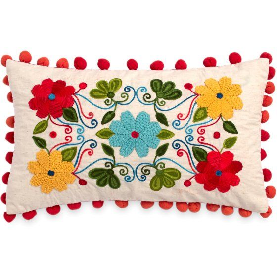 The Pioneer Woman Floral Embroidery 12x20 Decorative Pillow - Walmart.com 75afb74cad