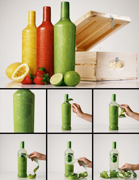 Smitnoff Peelable Bottles - Creative bottles with fruit inspired textures were made for the launch of new flavors of Smirnoff Caipiroska #welovecooldesignproducts