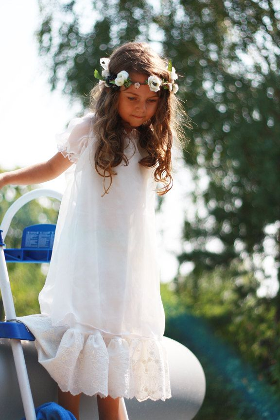 Romantic and vintage FLOWER GIRL DRESS custom color and size wedding bridesmaid party. $120.00, via Etsy.