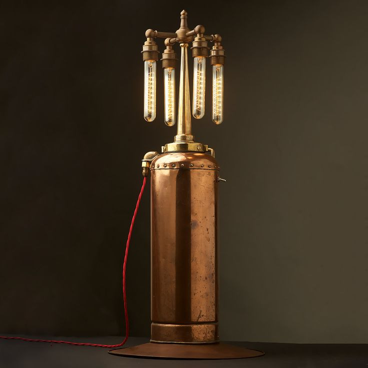 Copper & Brass Fire Extinguisher and Fire Hose Nozzle Multi Bulb Lamp