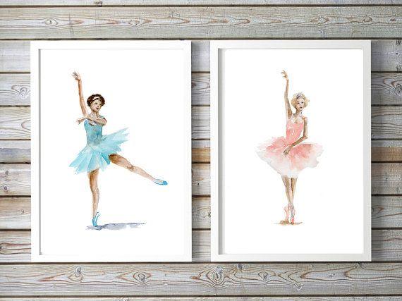 Ballerinas kunst  2 prints  Ballet schilderij  door Zendrawing