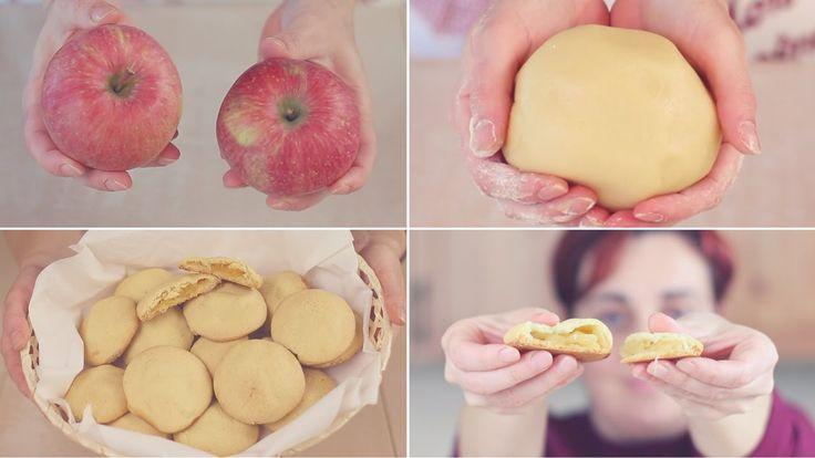 Biscotti Cuor di Mela, dolcetti con un morbido ripieno di mela e profumati alla cannella. Pasta frolla senza burro leggera e digeribile.