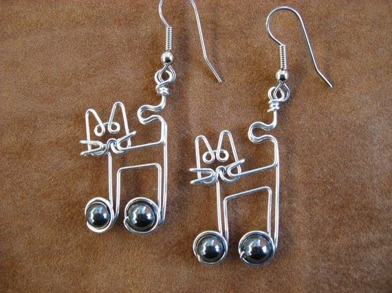 JAZZCAT EARRINGS HEMATITE wire wrapped. $16.00, via Etsy.