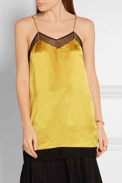 Gucci - Mesh-trimmed Silk-satin Camisole - Gold - IT38