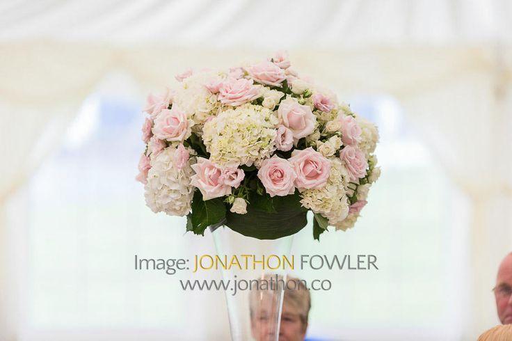 Glencorse House wedding photos - Lauren and Wayne - table flowers