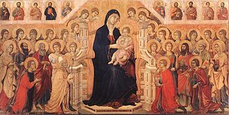 Pintura gótica italiana hecha en temple sobre madera. Se llama Maestá del Duomo de Siena, fue realizada por Duccio di Buoninsegna.