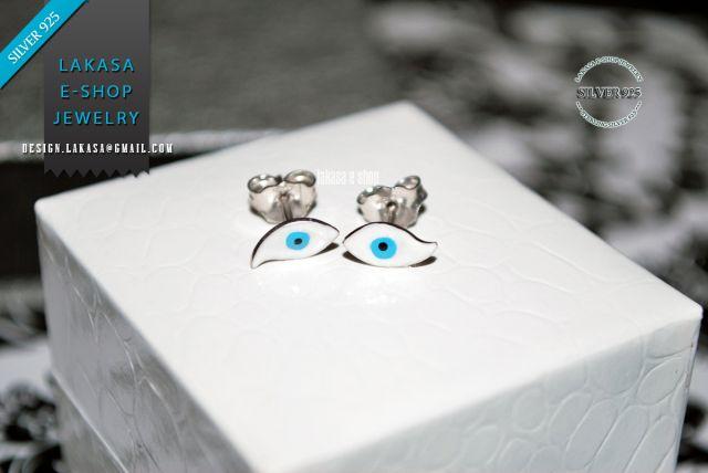 Lakasa e-shop | Jewelry #eye #summer #spring #girl #earrings #blue #enamel #stud #baby #cute #jewelry #forher #birthday #baby #kidscollection #moda #kids #collection #babymoda #χειροποιητα #σκουλαρικια #σμαλτο #ματακι #καρφακια #γυναικα #δωρο #παιδικο #κοσμημα #ασημενια #επιπλατινωμενα #μπλε #ασπρο #καλοκαιρι #Ελλαδα Χειροποιητα Σκουλαρικια Ασημενια 925 Επιπλατινωμενα με Σμαλτο σε Σχεδιο Ματακι Enamel Eye Studs Earrings Sterling Silver 925 white Gold-plated Handmade Jewelry