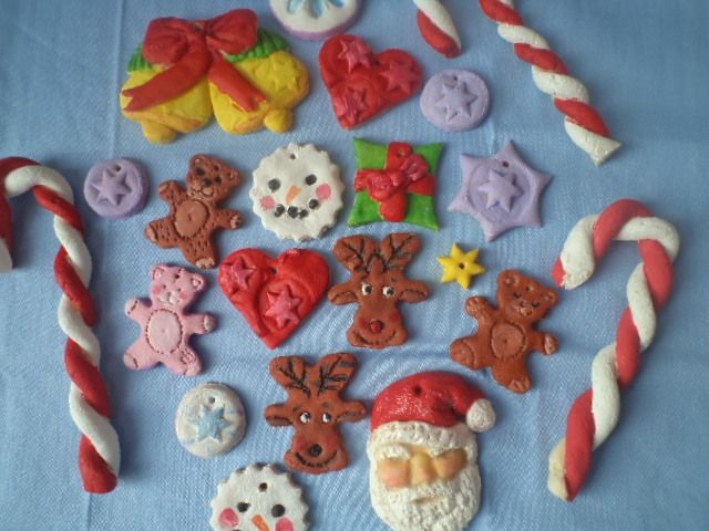 Our Christmas ornaments from salt dough... they are painted with acrilyc paint.
