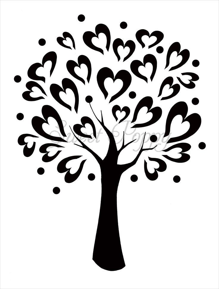 tree stencils | Sweet Poppy Stencil: Tree of Love. Para armar libro de firmas.