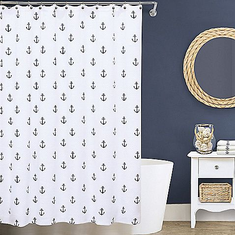 Combining an elegant design with a charming nautical touch, the Lamont Home Anchors Matelassé Shower Curtain brings fresh style to your bathroom. This luxurious cotton matelassé curtain features a subtle diamond pattern, accented with navy blue anchors.
