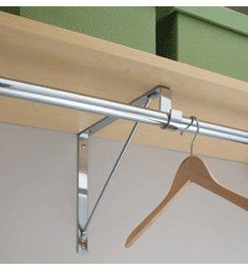 Closet Rod and Shelf Support Bracket, 12$ for two reliable and sturdy, hard metal ones at Home Depot