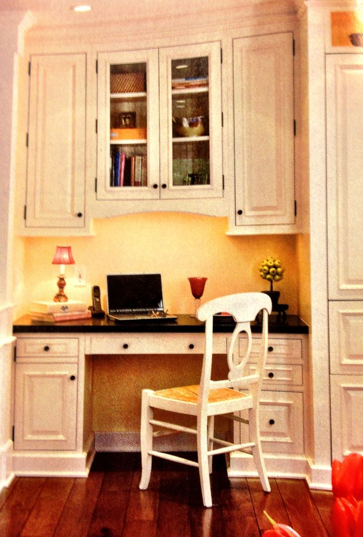 Desk in kitchen design ideas - Built In Desk For Kitchen One Side Drawers For Printer And Other Side Cabinet For