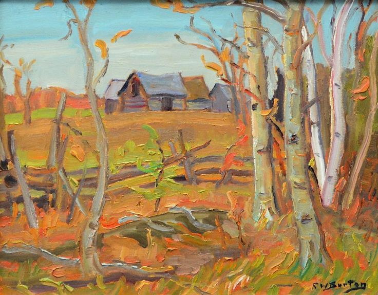 Ralph Wallace Burton - Farmland North Gower 10.5 x 13.5 Oil on panel