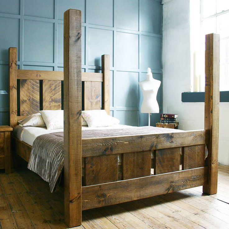 Handmade solid wood rustic chunky slatted four poster for Diy poster bed