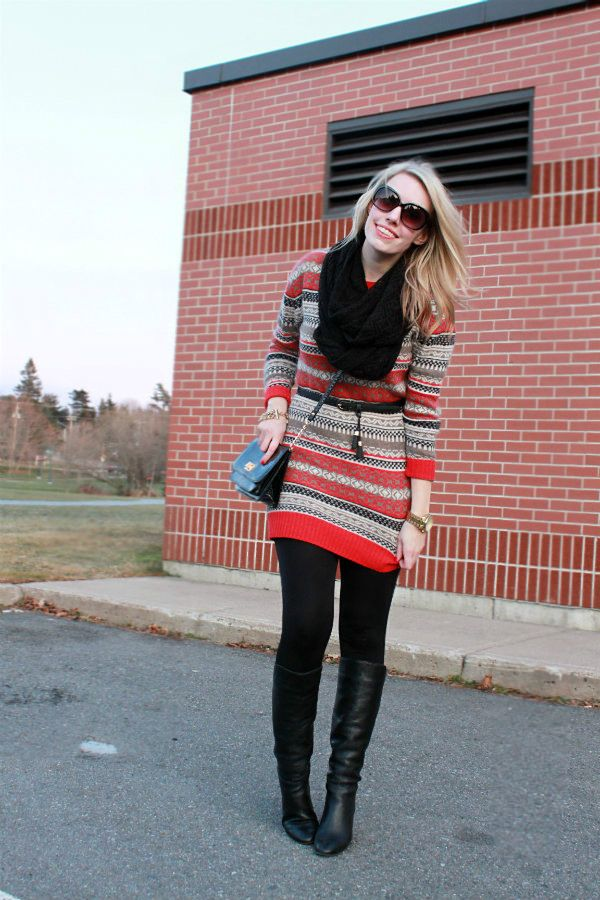 dresses with sweaters and boots | Sweater Dress: River Island (ASOS), Leggings: Urban Planet, Boots ...