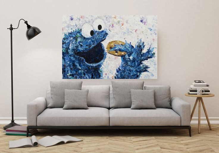 Krümelmonster - Sesamstraße -  Kunstdruck 60x40 cm von Kunstdrucke auf Leinwand von PRINTART Kay Schleusner auf DaWanda.com