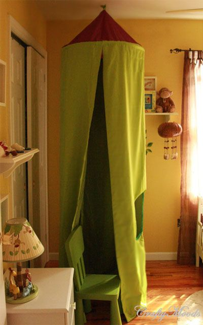 hula hoop and curtain..I'm thinking craft glue or duct tape (no-sew)