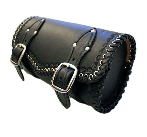 Leather motorcycle tool bag black leather by RobertiLeather