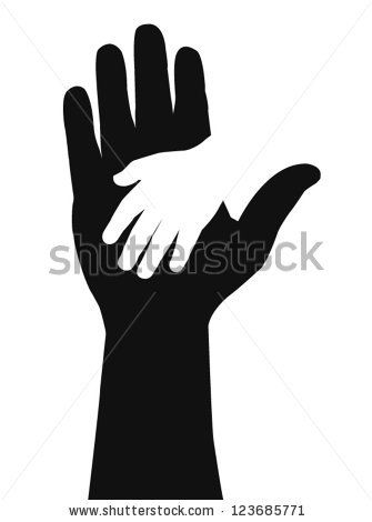 Helping hands. Vector illustration on black background - stock vector