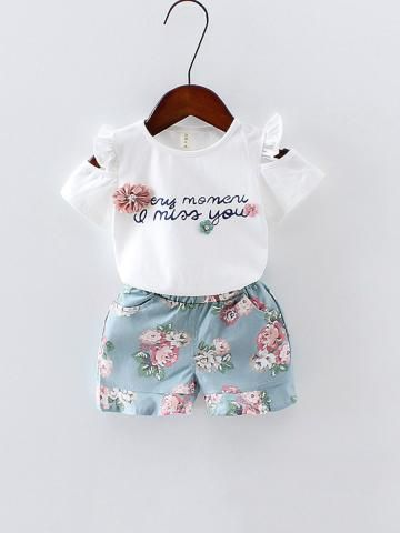 Buy Baby Girl's Shorts Set 2 Pcs Short Sleeve Letter T Shirt Baby Clothes & Baby Wear - at Jollychic
