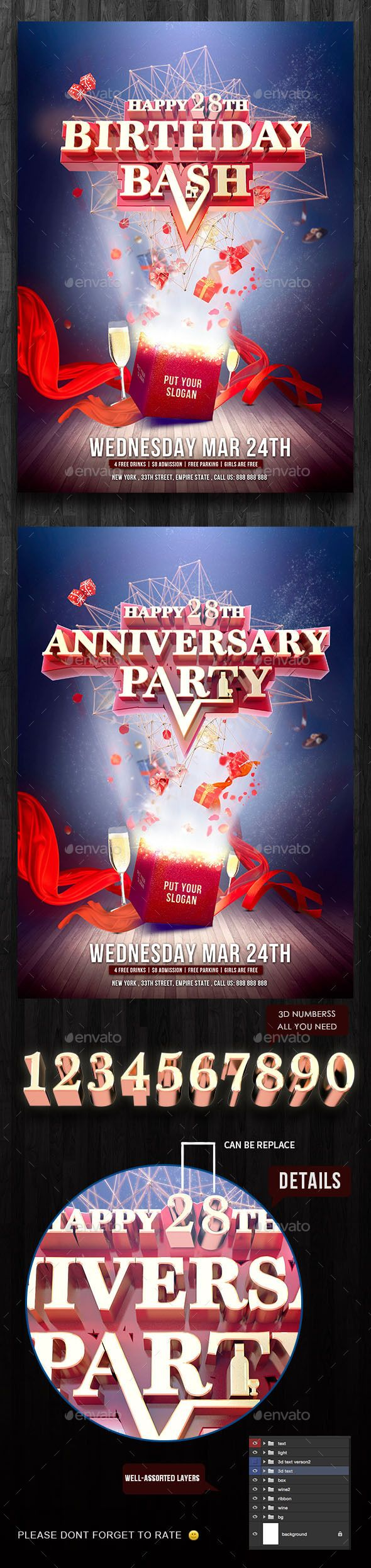 Birthday / Anniversary Party Flyer Template
