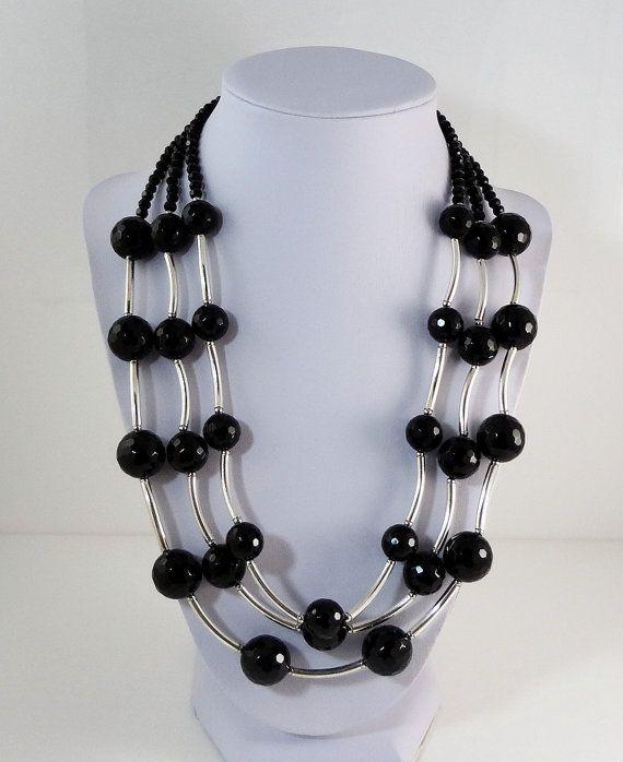 Black Necklace Onyx by SigneCharlie on Etsy, $44.25