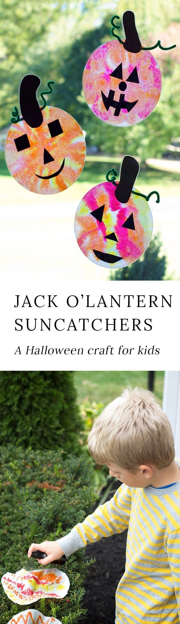 Just in time for Halloween, learn how to make adorable and simple jack o'lantern suncatchers with markers, coffee filters, and water. #halloween via @https://www.pinterest.com/fireflymudpie/
