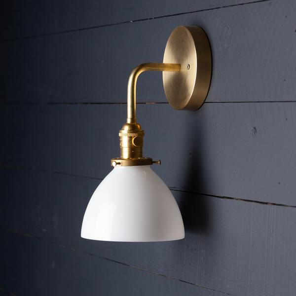Milk Glass Dome Shade Brass Wall Sconce Brass Wall Sconce Glass Wall Sconce Bathroom Wall Sconces