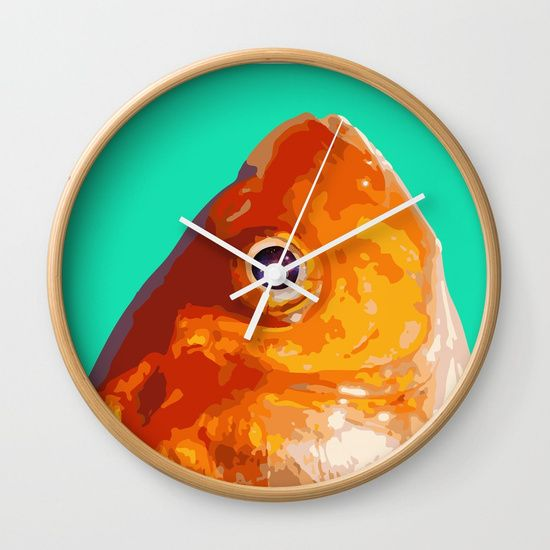 """Available in natural wood, black or white frames, our 10"""" diameter unique #wallclocks feature a high-impact plexiglass crystal face and a backside hook for easy hanging. Choose black or white hands to match your #wallclock frame and #art design choice. #clock #deco #decor #homedecor #graphic-design #digital #bw #contrast #pop-art #stars #universe #eye #fish #fishes #animal #orange #green #minimal #concept"""