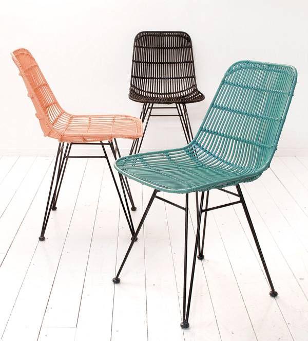 HK-living Eetkamerstoel oceaan groen metaal/rotan 80x44x57cm, rotan stoel - wonenmetlef.nl