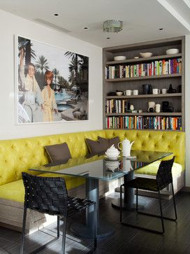 Kitchen/Dining - Eclectic kitchen with tufted yellow banquet seating, glass table amongst the library and art....what's not to love!