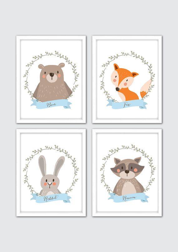 Woodland Nursery Art Prints Wall Animals