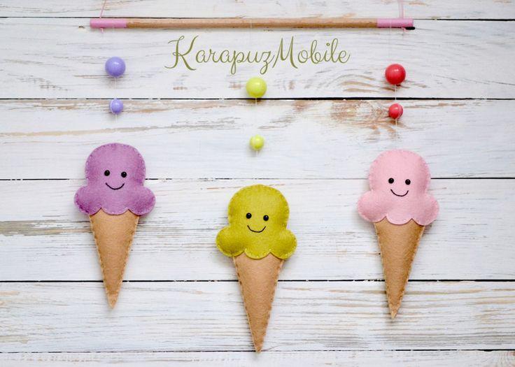 Baby mobile, nursery mobile, ice cream mobile von KarapuzMobile auf DaWanda.com
